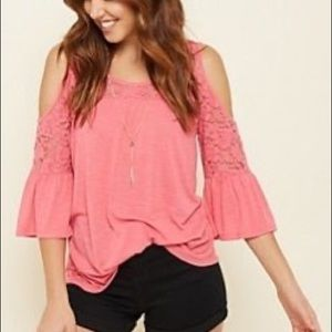 Pink Lace Cold Shoulder Necklace Top